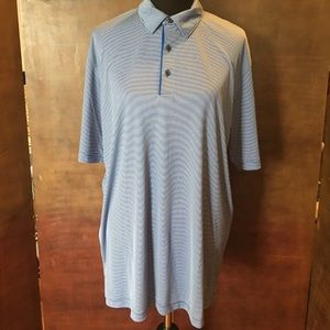 Greg Norman Play Dry Blue White Striped Polo Shirt